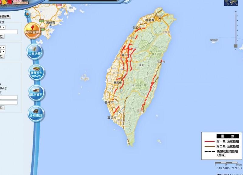 ▼台灣活動斷層。(圖/翻攝自經濟部中央地質調查所)