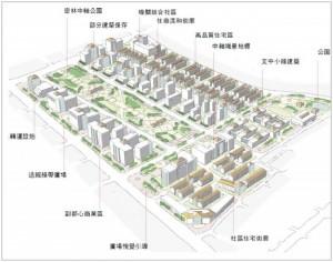 平實營區、精忠三村地區開發模擬示意圖