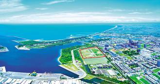國平重劃區(圖中紅線區域)是台南目前唯一臨海的重劃區。 攝影/張世雅 圖片提供/泰嘉開發非報系