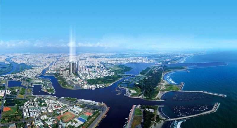 空中鳥瞰原台南市五期重劃區海景示意圖。