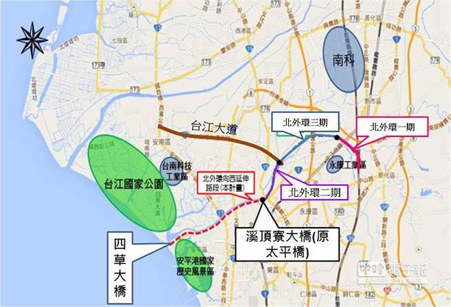 台南市政府打造1小時生活圈,26日宣布全力推動鹽水溪環河快速道路。(台南市工務局提供)