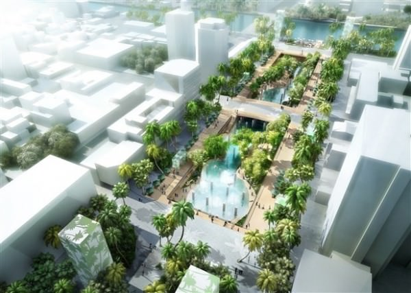 中國城廣場地景改造模擬圖。(圖由市府提供)