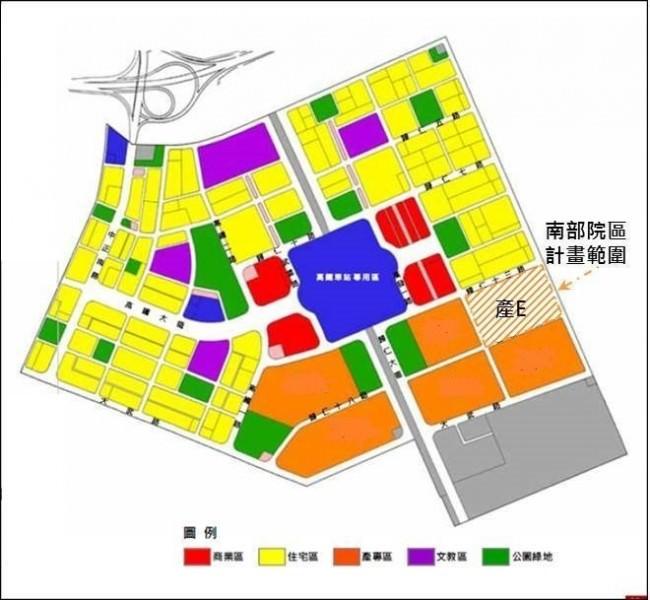 中研院南院預定地示意圖,院區緊鄰高鐵台南站,與交通大學南部校區比鄰。中研院/提供